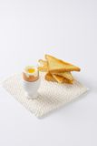 Soft boiled egg and toasts Royalty Free Stock Images