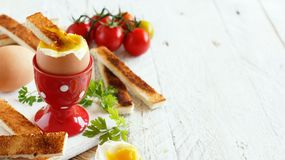 Soft-boiled egg with toasts. And tomatoes on a white wooden table Stock Photo