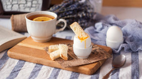 Soft Boiled Eggs for Breakfast with toast Stock Image