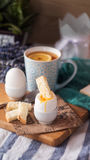 Soft Boiled Eggs for Breakfast with toast Stock Photos