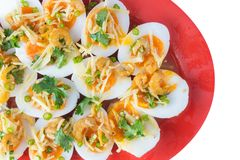 Soft Boiled Eggs Spicy Salad Stock Photo