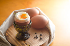 Soft-boiled eggs. Two soft-boiled eggs on a wooden board Stock Image