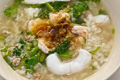 Soft-boiled rice seafood Stock Images