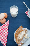 Soft breakfast theme with milk, egg. Colorful breakfast theme, morning concept stock photo