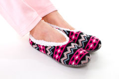 Soft, bright, cozy slippers. Royalty Free Stock Photos