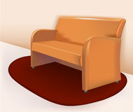 Soft brown leather sofa Stock Images