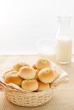 Soft bun with green custard stuff Royalty Free Stock Photos