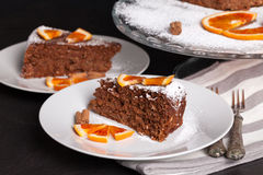 Soft Cake With Chocolate And Oranges Stock Photo