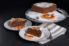 Soft Cake With Chocolate And Oranges Royalty Free Stock Photos