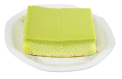 Soft cake. Soft cake from panda n leaf isolated on white background Royalty Free Stock Photography