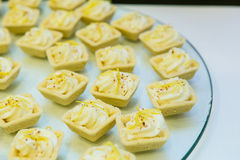 Cheese canape. Soft cheese appetizers on a buffet table Stock Image
