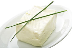 Soft cheese block Stock Images