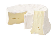 Soft cheese brie. Cheese brie cut fresh isolated delicious white Stock Image