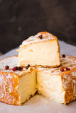Soft cheese with cut off slice creamy texture, orange rind with mold, French, German Royalty Free Stock Photography