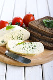 Soft cheese with herbs Stock Photos