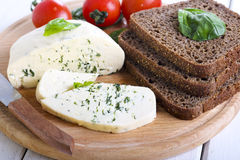 Soft cheese with herbs Royalty Free Stock Photos