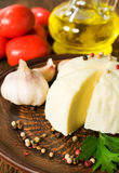 Soft cheese with herbs and tomatoes Royalty Free Stock Photography