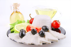 Soft cheese and olive oil Royalty Free Stock Photo