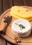 Soft cheese on plate Stock Photos