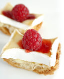 Soft cheese and raspberry on toast Stock Image