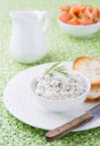 Soft cheese spread with salmon and green onions Stock Images