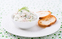 Soft cheese spread with salmon and green onions Stock Photo
