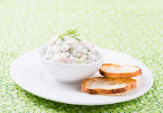 Soft cheese spread with salmon and green onions Stock Photos
