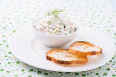 Soft cheese spread with salmon and green onions Stock Photography