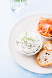 Soft cheese spread with salmon and green onions Royalty Free Stock Images