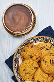 Soft and Chewy Chocolate Chip Cookies With Coffee Stock Photo