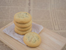 Soft and chewy chocolate chips and raisin cookies Royalty Free Stock Images