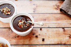 Soft chocolate pudding Stock Photos