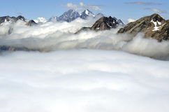 Soft clouds blanket in Southern Alps, NZ. Stock Photography