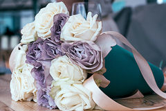 Soft color bouquet with memory lane and avalanche roses Stock Image