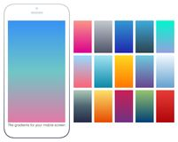 Soft color gradient backgrounds set. Modern screens for mobile app. Abstract colorful vector gradients for greeting card, brochure, flyer, invitation card Royalty Free Stock Images