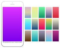 Soft color gradient backgrounds set. Modern screens for mobile app. Abstract colorful vector gradients for greeting card, brochure, flyer, invitation card Stock Image