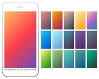 Soft color gradient backgrounds set. Modern screens for mobile app. Abstract colorful vector gradients for greeting card, brochure, flyer, invitation card Royalty Free Stock Image
