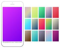 Soft color gradient backgrounds set. Modern screens for mobile app. Abstract colorful vector gradients for greeting card, brochure, flyer, invitation card Stock Photography