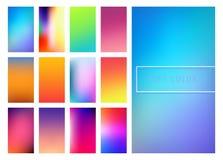 Soft color gradients background. Set of soft color gradients background for mobile screen, app. Vector illustration Stock Illustration