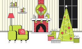 Soft color New Year Christmas flat cartoon interior concept vector style.Indoor view with burning fireplace and new year. Soft color New Year Christmas flat royalty free illustration