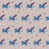 Soft colored pegasus seamless pattern background Royalty Free Stock Image