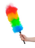 Soft colorful duster in hand. On white Stock Image