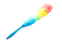 Soft colorful duster with plastic handle. On white background Royalty Free Stock Photos