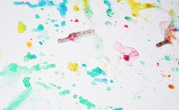 Soft colorful sparkling waxy vivid pastel spots watercolor blurred waxy gold spots colorful hues, strokes of brush, backgrounnd. Soft colorful sparkling waxy Royalty Free Stock Photography