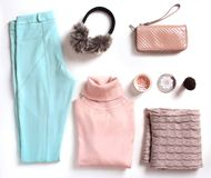 Soft colors winter female clothes set.Outfit. Soft colors women`s clothes set.Collage of winter female clothing.Outfit.Apparel and cosmetics Stock Photo