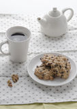 Soft cookie with hot coffe at morning Stock Images