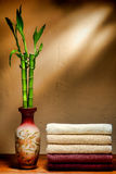 Soft Cotton Towels and Bamboo Asian Vase in a Spa royalty free stock images