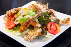 Soft crab fried salad Royalty Free Stock Image