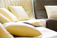 Soft cushion in sofa. Home interior decoration royalty free stock photos