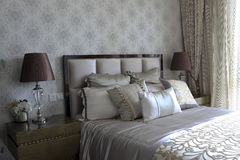The soft decoration in natural light in the bedroom Royalty Free Stock Photo